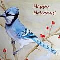 Blue Jay Happy Holidays by Laurel Best