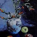 Blue Jug And Apples by Jennifer Calhoun