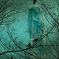 Angel And Crows In A Blue Mist by Gothicrow Images