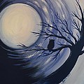 Blue Moon Vortex With Owl by Agata Lindquist