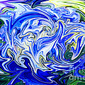 Blue Mophead Hydrangea Abstract by Sharon Talson
