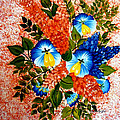 Blue Pansies Bouquet by Barbara Griffin