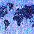 Blue Pointillist World Map by Hakon Soreide