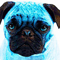 Blue - Pug Pop Art By Sharon Cummings by Sharon Cummings