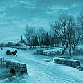 Blue Retro Vintage Rural Winter Scene by John Stephens
