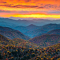 Blue Ridge Parkway Fall Sunset Landscape - Autumn Glory by Dave Allen