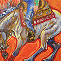 Blue Roan Reining Horse Spin by Jenn Cunningham