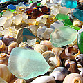 Blue Seaglass Beach Art Prints Shells Agates by Baslee Troutman
