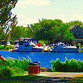 Blue Skies Boats And Bikes Montreal Summer Scene The Lachine Canal Seascape Art Carole Spandau by Carole Spandau