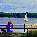 Blue Skies White Sails Drifting Blonde Girl And Collie Watch River Run Lachine Scenes Carole Spandau by Carole Spandau