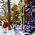 Blue Snowy Staircase And Birch Tree Montreal Winter City Scene Quebec Artist Carole Spandau by Carole Spandau