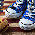 Blue Tennis Shoes And Baseball by Garry Gay