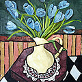 Blue Tulips On Octagon Table by Anthony Falbo