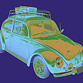 Blue Volkswagen Beetle Punch Buggy Modern Art by Keith Webber Jr