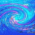 Blue Vortex Abstract 2 Intense by Saundra Myles
