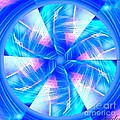 Blue Wheel Inflamed Abstract by Saundra Myles
