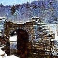 Blue Winter Stone Bridge by Janine Riley