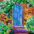 Blue Wooden Door To Secret Rose Garden by Beverly Claire Kaiya