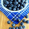 Blueberries And Blue Napkin by Mary Deal