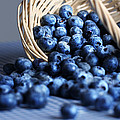 Blueberries Spilling From Wicker Basket Kitchen Art by Carol Mellema