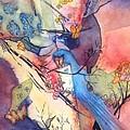 Bluebird And Butterflies by Eldora Schober Larson