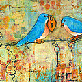 Bluebird Painting - Art Key To My Heart by Blenda Studio