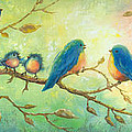 Bluebirds On Branches by Vickie Wade