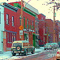Blues And Brick Houses Winter Street Suburban Scenes The Point Sud Ouest Montreal Art Carole Spandau by Carole Spandau