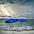 Blueumbrellassanibelisland by Michael Rankin