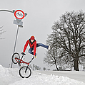 Bmx Flatland In The Snow - Monika Hinz Jumping by Matthias Hauser