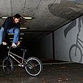 Bmx Flatland Monika Hinz Doing Awesome Trick With Her Bike by Matthias Hauser