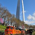 Bnsf Ore Train And St. Louis Gateway Arch by Matthew Chapman
