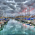 Boat Harbor Stormy Sunset In Oceanside California by Christy Woodrow