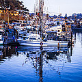 Boat Mast Reflection In Blue Ocean At Dock Morro Bay Marina Fine Art Photography Print by Jerry Cowart