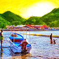 Boat Painter On A Tropical Beach - Nicaragua by Mark E Tisdale