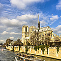 Boat Passing Notre Dame De Paris  by Mark E Tisdale