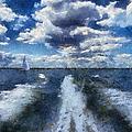 Boat Wake Photo Art 02 by Thomas Woolworth
