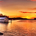 Boathouse Sunset On The Sunshine Coast by Peggy Collins