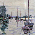 Boats Anchored On The Seine by Gustave Caillebotte