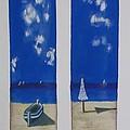 Boats And Umbrellas by Ramadan Agolli