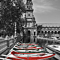 Boats By The Plaza De Espana Seville by Mary Machare