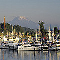 Boats Docked At A Harbor With Mountain by Panoramic Images
