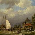Boats Docking In An Estuary by Hermanus Koekkoek