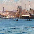 Boats In A Port by Fausto Zonaro