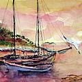 Boats In Sunset  by Faruk Koksal