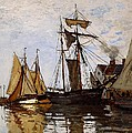 Boats In The Port Of Honfleur by L Brown