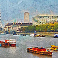 Boats On The River Thames And The London Eye by Digital Photographic Arts