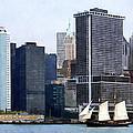 Boats - Schooner Against The Manhattan Skyline by Susan Savad
