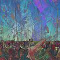 Boats W Painted Abstract by Anita Burgermeister
