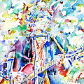 Bob Dylan Playing The Guitar - Watercolor Portrait.1 by Fabrizio Cassetta